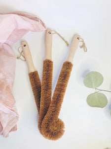 Bottle Scrub Brush- Wood with Coconut Fiber Bristles