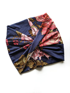 Navy Floral wide headband