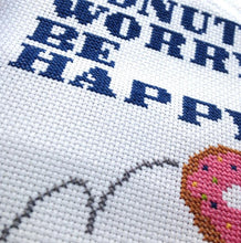Load image into Gallery viewer, Donut Worry Be Happy Counted Cross Stitch DIY Kit