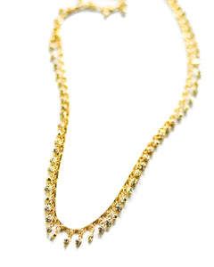Crystal Drop Gold Chain Choker Necklace