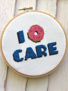 I Donut Care Doughnut Counted Cross Stitch DIY KIT
