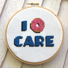 Load image into Gallery viewer, I Donut Care Doughnut Counted Cross Stitch DIY KIT