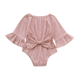 Infant Baby Girl Bowknot Solid Flare Sleeve Romper