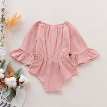 Load image into Gallery viewer, Infant Baby Girl Bowknot Solid Flare Sleeve Romper