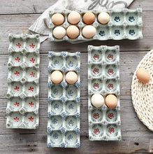 Load image into Gallery viewer, Japanese glaze color ceramic 12 grid separation egg tray Rectangular