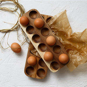 Japanese style Wooden Double Row Egg Storage Box Home Organizer Rack