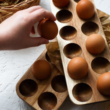 Load image into Gallery viewer, Japanese style Wooden Double Row Egg Storage Box Home Organizer Rack