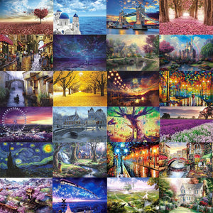 Landscape Puzzles 1000 Pieces Jigsaw Game Educational Toy for Kids Adults Birthday Gift Assembling Scenery Puzzles Toys