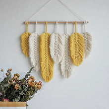 Load image into Gallery viewer, Macrame Feather Wall Decor