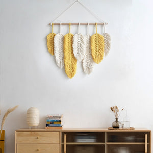 Macrame Feather Wall Decor