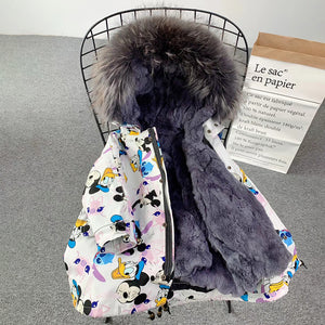 New Winter Coat For Girls Rabbit Fur Coat Cartoon Animal Kids Girls Jackets And Coats Warm Parkas For Children Real Fur Coat