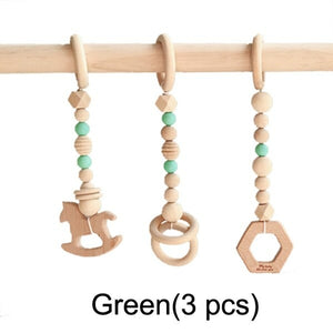 Nordic Style Baby Gym Play Nursery Sensory Ring pull Toy  Wooden Frame