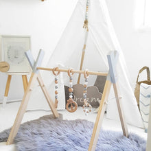 Load image into Gallery viewer, Nordic Style Baby Gym Play Nursery Sensory Ring pull Toy  Wooden Frame