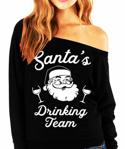 SANTA'S DRINKING TEAM Christmas Slouchy Sweatshirt