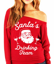 Load image into Gallery viewer, SANTA'S DRINKING TEAM Christmas Slouchy Sweatshirt