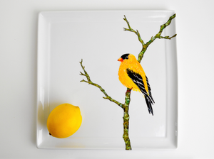 Golden Finch Serving Platter : Hand Painted Large