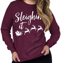 Load image into Gallery viewer, Sleighin It Christmas Crew Neck Sweatshirt