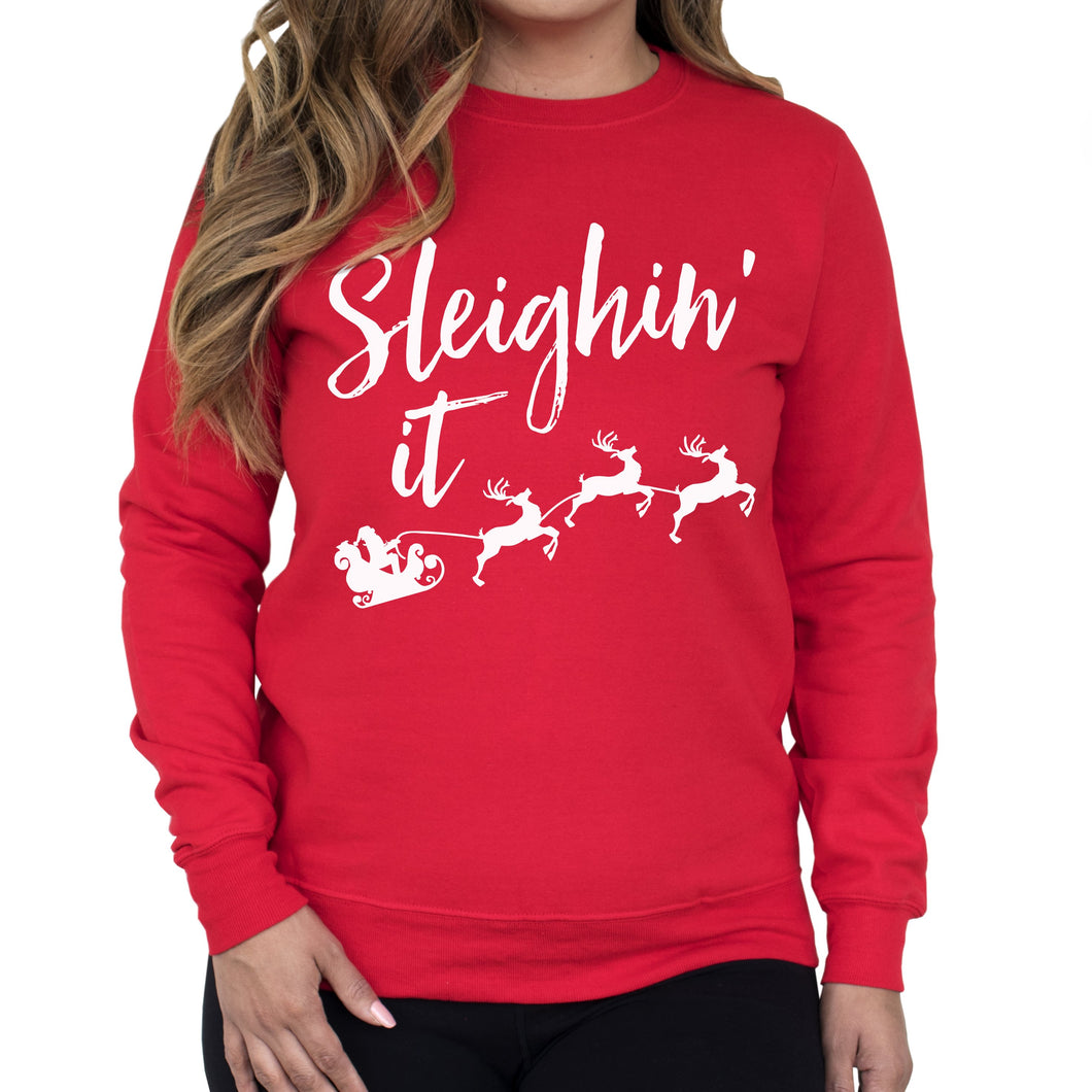 Sleighin It Christmas Crew Neck Sweatshirt