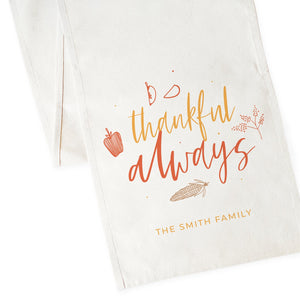 Personalized Family Last Name Thankful Always Canvas Table Runner