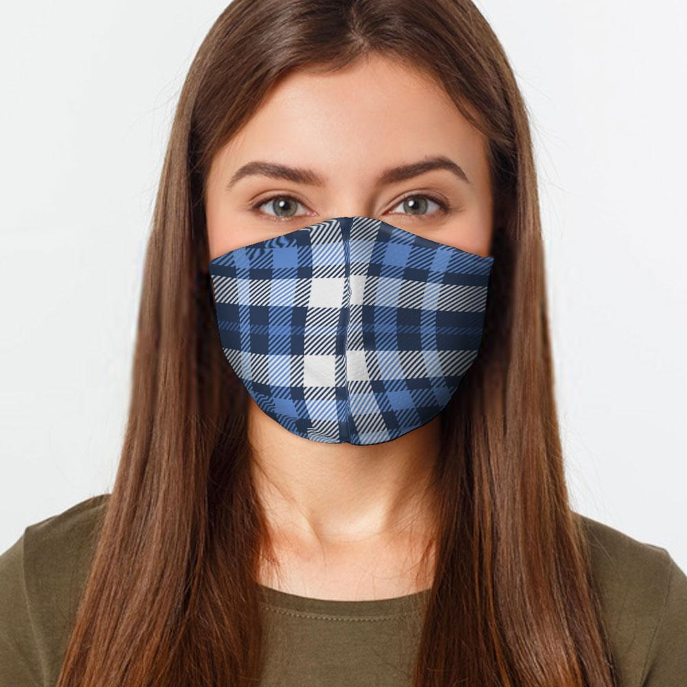 Blue White Plaid Face Cover - Plaid