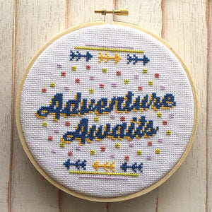 Adventure Awaits Counted Cross Stitch DIY KIT