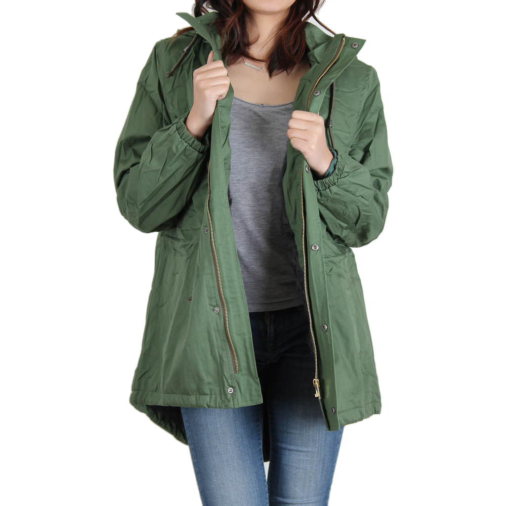 Urban Diction Hunter Green Faux-Fur Lined Anorak Jacket W/Removable Hood Zipper and Button Up