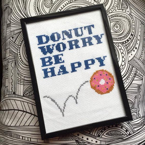 Donut Worry Be Happy Counted Cross Stitch DIY Kit