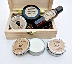 Men's Grooming Gift Set in Wood Box with Beard Oil