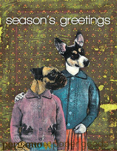 "Holiday Dogs Card or Card Set ""Seasons Greetings"""