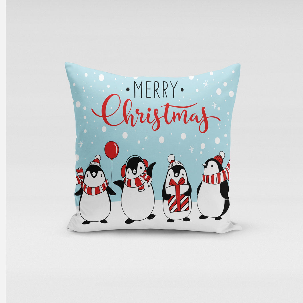 Jolly Penguins Pillow Cover