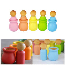 Load image into Gallery viewer, 10 pc Cute Unpainted Blank Wooden Peg People Nesting Set Peg Dolls Crafts DIY Montessori Toy Creative Kid Toy Wedding Home decor