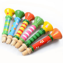 Load image into Gallery viewer, Wooden Toys Hooter Horn Educational Musical Instrument  Mini Kids Baby Toys Musical Instrument Colorful Wooden Trumpet