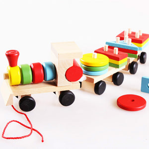 Montessori Educational Wooden Toy Preschool Baby Wooden Geometric Matching Stacking Train Block Learning Toys