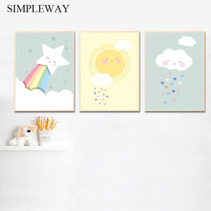 Rainbow Cloud Star Nursery Child Poster Simple Print Wall Art Canvas Minimalist Picture Painting Nordic Kids Bedroom Decoration