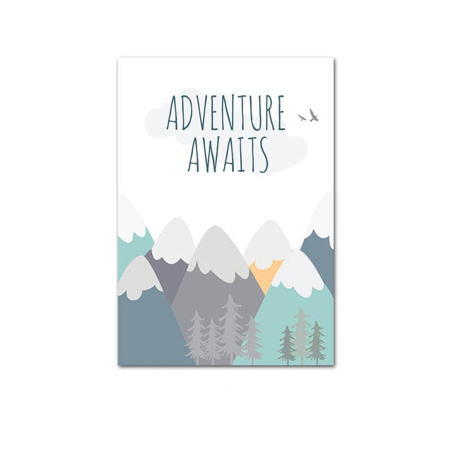 Adventure Quote Nursery Child Poster Cartoon Mountain Airplane Print Wall Art Canvas Painting Nordic Kid Room Decoration Picture