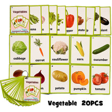 Load image into Gallery viewer, 20Pcs/Set Vegetable Fruits English Learning Word Card English Learning Card Early Education Children's Game  Word Pocket Card