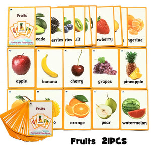 20Pcs/Set Vegetable Fruits English Learning Word Card English Learning Card Early Education Children's Game  Word Pocket Card