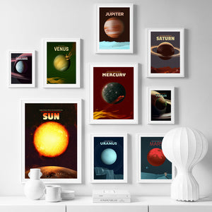 Sun Mars Earth Venus Planet Solar System Wall Art Canvas Painting Nordic Posters And Prints Wall Pictures For Living Room Decor