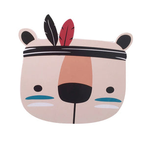 Kids Room Decorations Nordic Style Wood Plastic Board Ornaments Cartoon Animal Head Wall Decor Children Gift