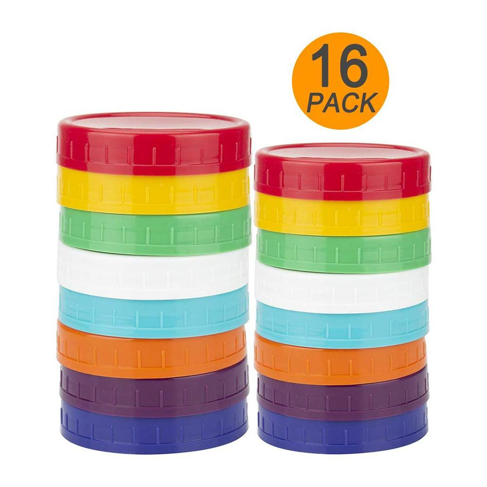 16Pack/ Lot Mason Jar Lids Wide Mouth Round Colored Plastic Lid For Mason Canning Jar