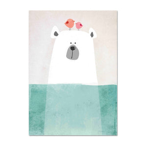 Baby Boy Nursery Decor Animal Canvas Painting Bear Hippo Cartoon Posters Wall Art Canvas Nordic Kids Room Painting Pictures