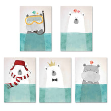 Load image into Gallery viewer, Baby Boy Nursery Decor Animal Canvas Painting Bear Hippo Cartoon Posters Wall Art Canvas Nordic Kids Room Painting Pictures