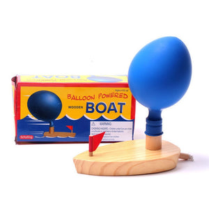 Kids Bath Toys Wooden Balloon Powered Boat Science Experiment Learning Classic Educational Early Development Toys For Children