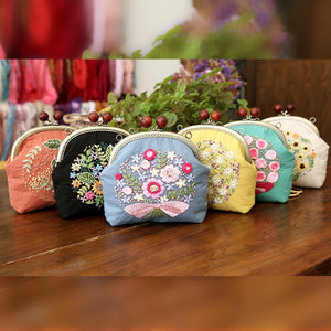 Coin Bag Hand Embroidery European Style personality Gift Change Purse Vintage Linen DIY Handmade Kit 1 Set Travel Outdoor Holder