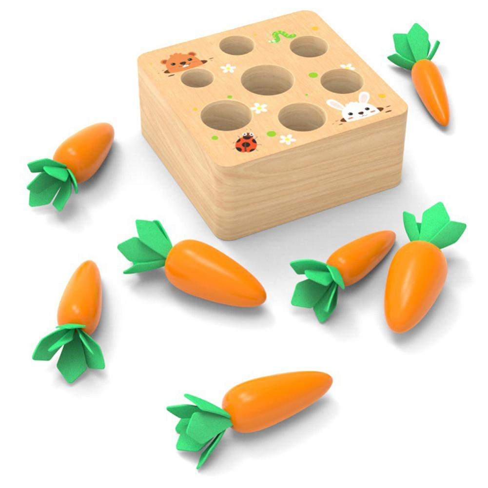 Wooden Block Pulling Carrot Game Kids Montessori Toy Block Set Cognition Ability Alpinia Toy funny Interactive Toy gift For Kid