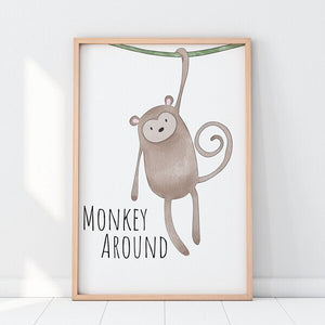 Safari Animal Quotes Nordic Posters and Prints Neutral Nursery Decor Cartoon Animals Wall Art Canvas Painting for Baby Kids Gift
