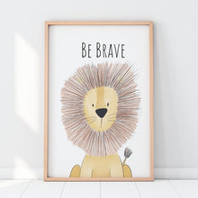 Load image into Gallery viewer, Safari Animal Quotes Nordic Posters and Prints Neutral Nursery Decor Cartoon Animals Wall Art Canvas Painting for Baby Kids Gift