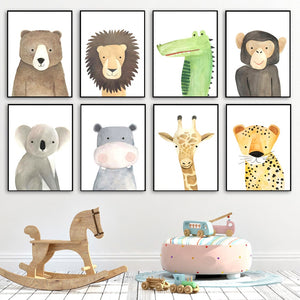 Bear Leopard Hippo Lion monkey Nursery Wall Art Canvas Painting Nordic Posters And Prints Wall Picture Baby Kids Room Home Decor