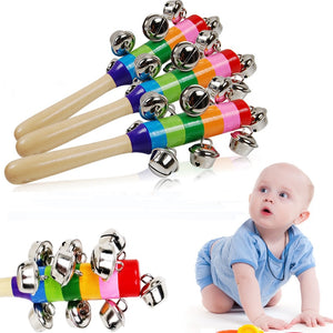 Baby's Bell Vocal Toys Rainbow Shaker Stick Educational Toy Handle Wooden Activity Bell Ring Rainbow Musical Instrument