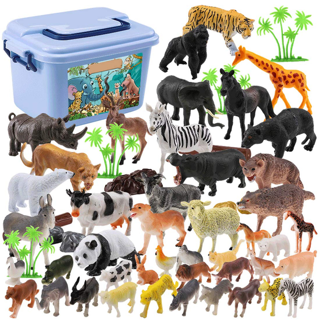58PCS/Set Mini Jungle Animals Toys Set Animal Figures,World Zoo, Forest Toy for Children with Strong Box